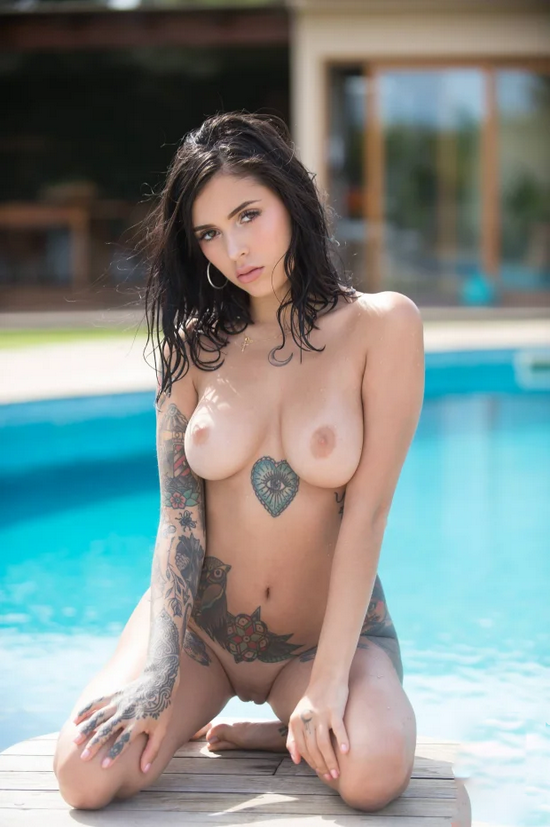 (44) Nice Girl Tattoo Topless Hot Models Body Art Photos